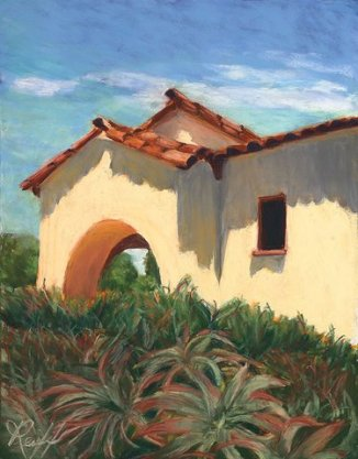 At the Carmel Mission, Pastel, 18x27