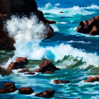 Rocky Coast II, Oil, 14x18