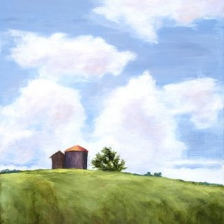 Silo in the Sky, Oil, 14x18